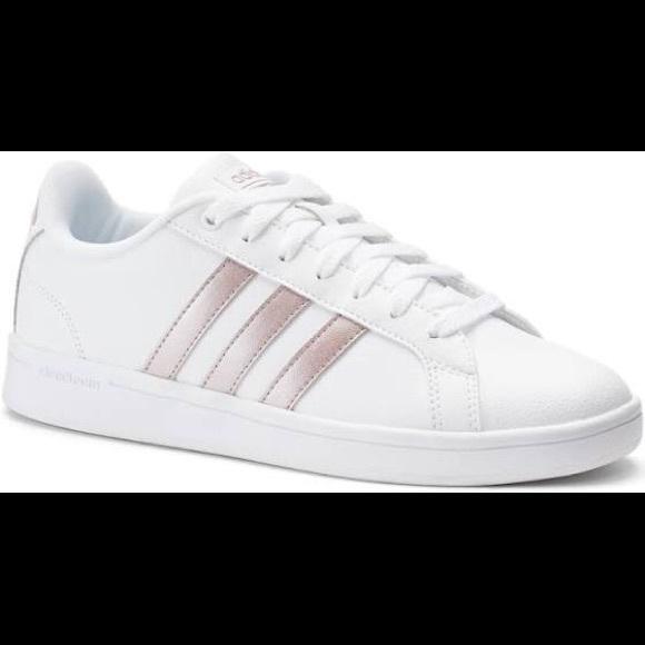le adidas cloudfoam bianco con strisce poshmark rose d'oro